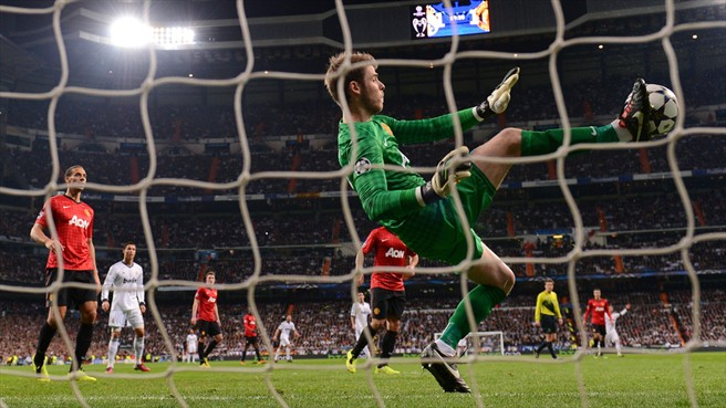 David de Gea, arquero del Manchester United, en una increíble tapada en el encuentro. FOTO: Getty Images.